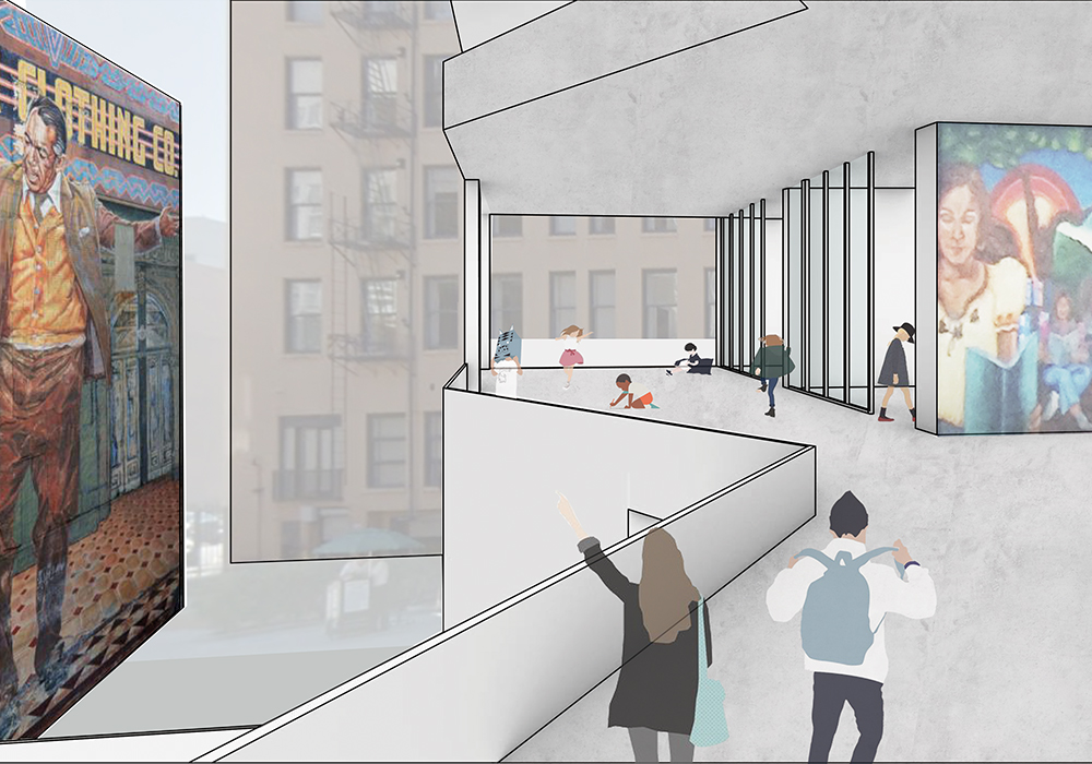 This image depicts students walking on a bridge in the school that overlooks the iconic mural found on site.