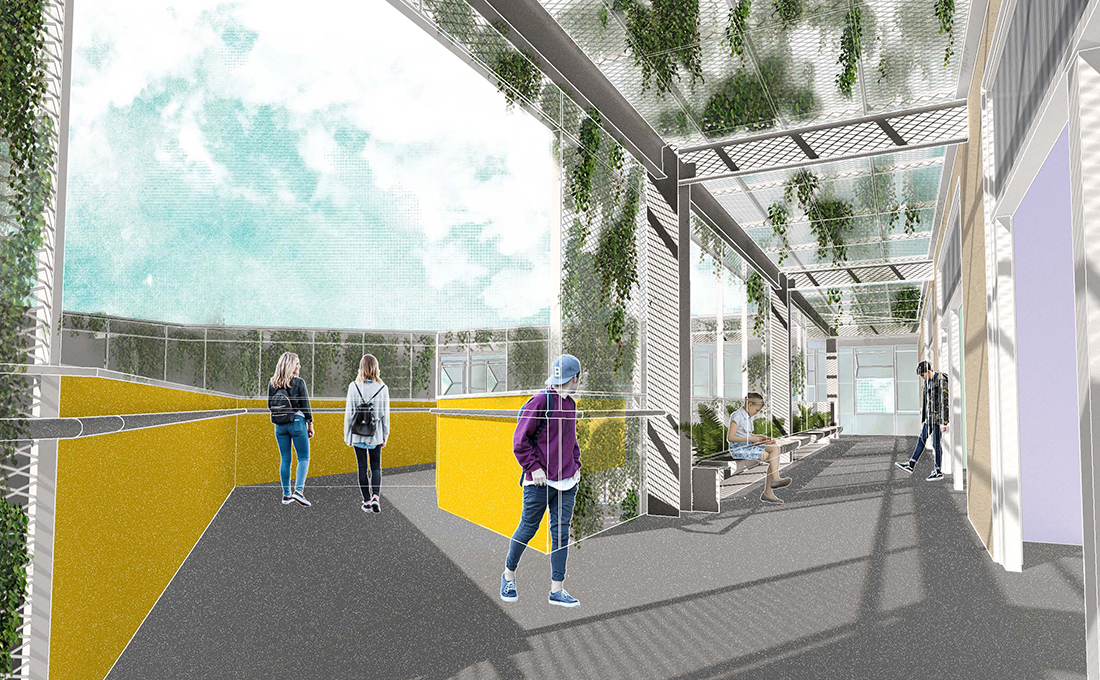 Rendering of Learning Haven's classroom hallway
