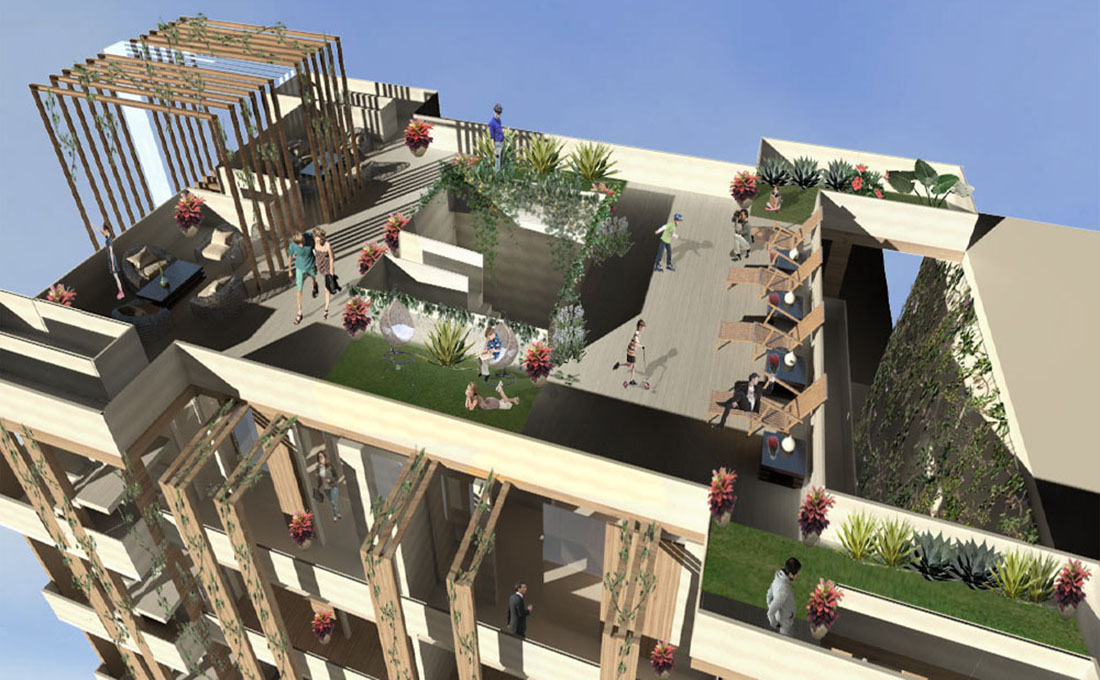 Studio 4: Interior Architecture - Santee Alley Housing, Rooftop View