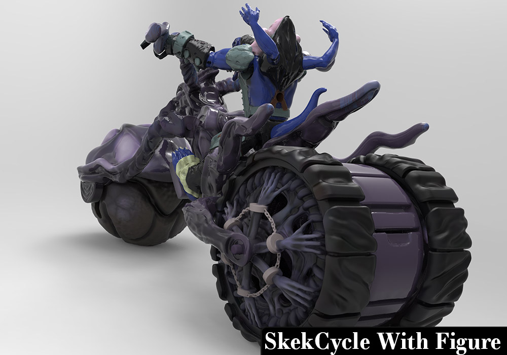SkekCycle and Figure -Sculpted and painted in Zbrush and rendered in Keyshot
