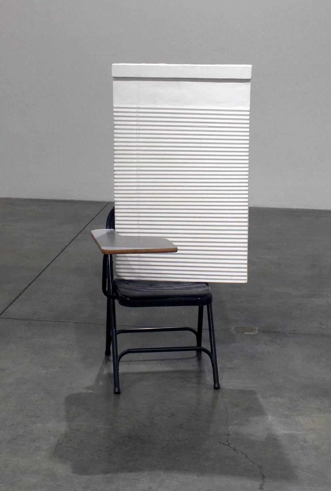 """""""Sitter"""" = Legal Pad * Blinds * (filter) * : Cast Plaster, Desk"""