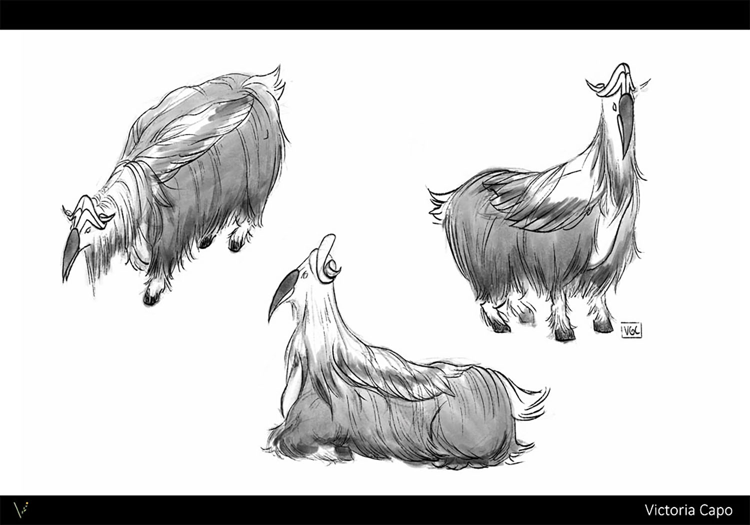 Value studies for a creature hybrid of a markhor goat and a hornbill bird.