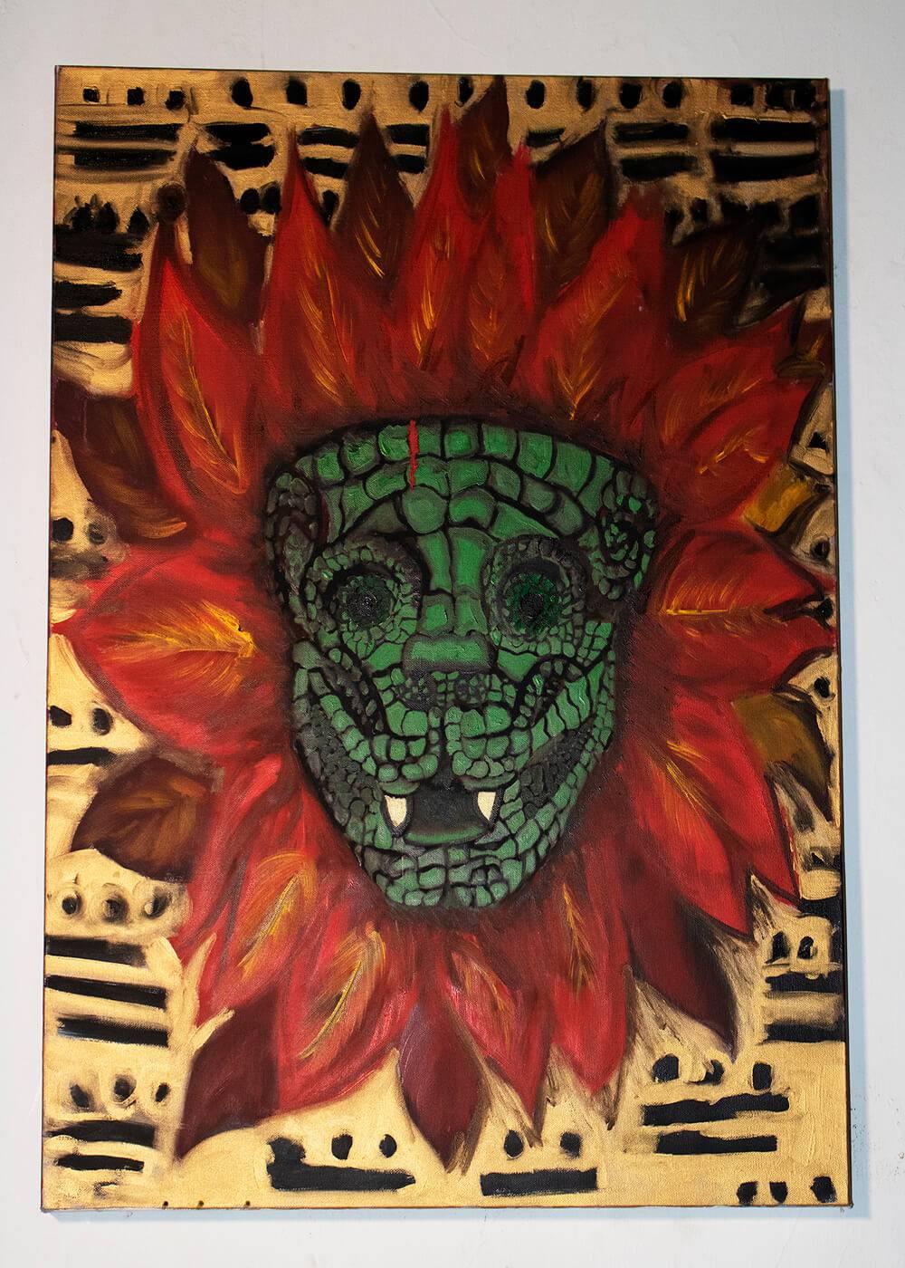 Image of Quetzalcoatl on panel.