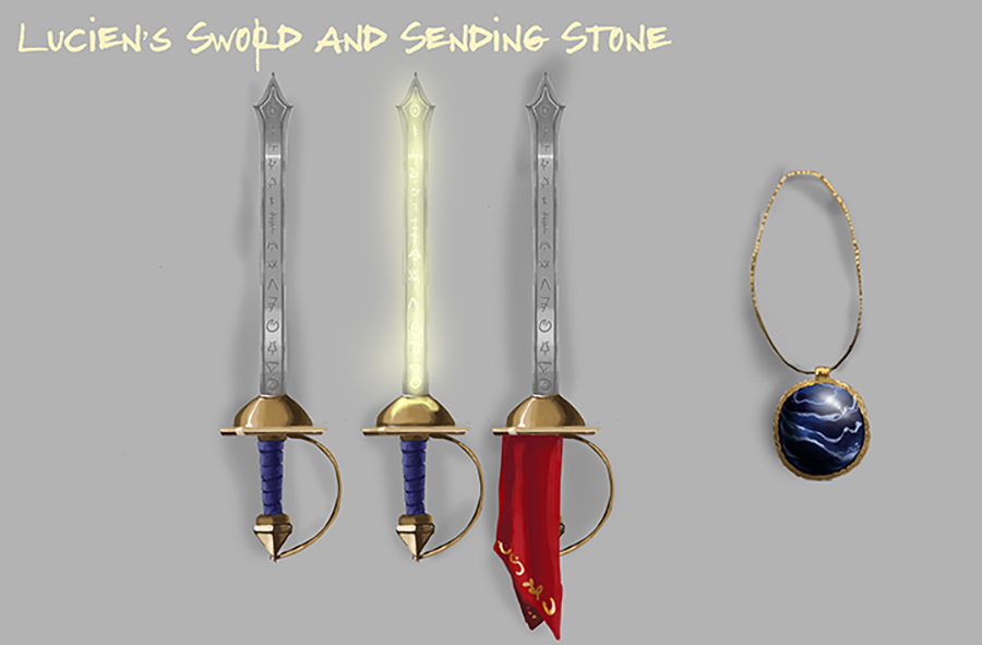 """""""A sword with Runes glowing and a beautiful marble esque stone."""""""