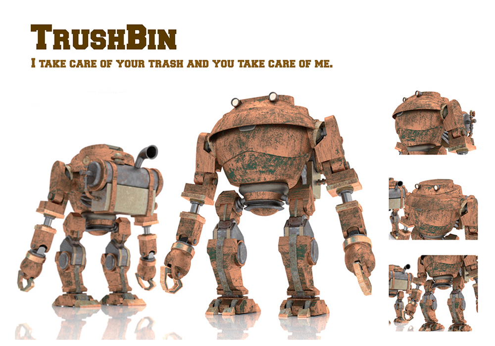 TrushBin is a walking trush can who eats trash you don't need