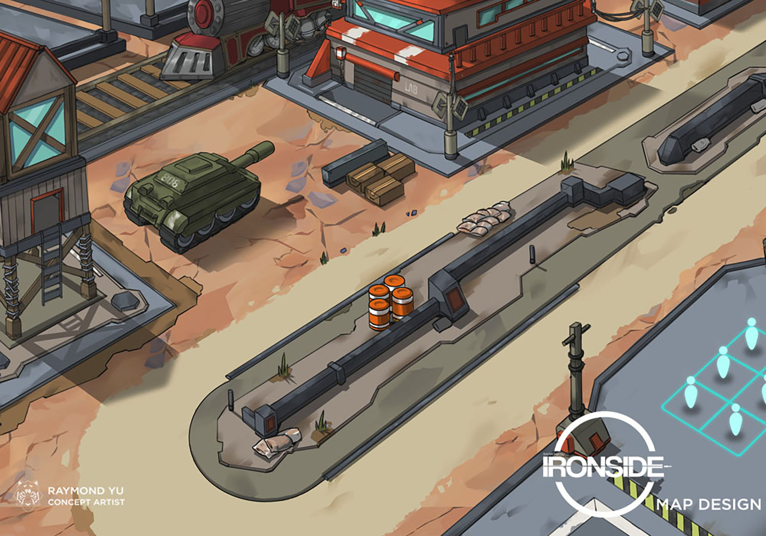 IRONSIDE map design. This map is focusing on teaching the player the basics of X-Com style games, which are a genre of games heavily influenced by strategy games.