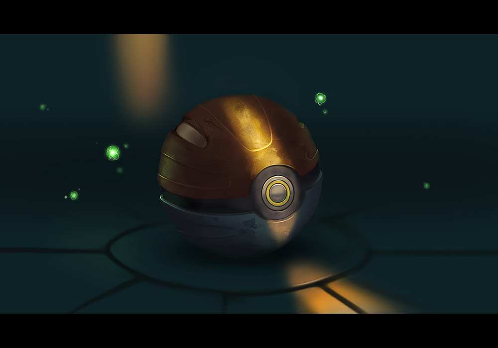 A Pokeball being lit by a sliver of light with energy balls surrounding it.