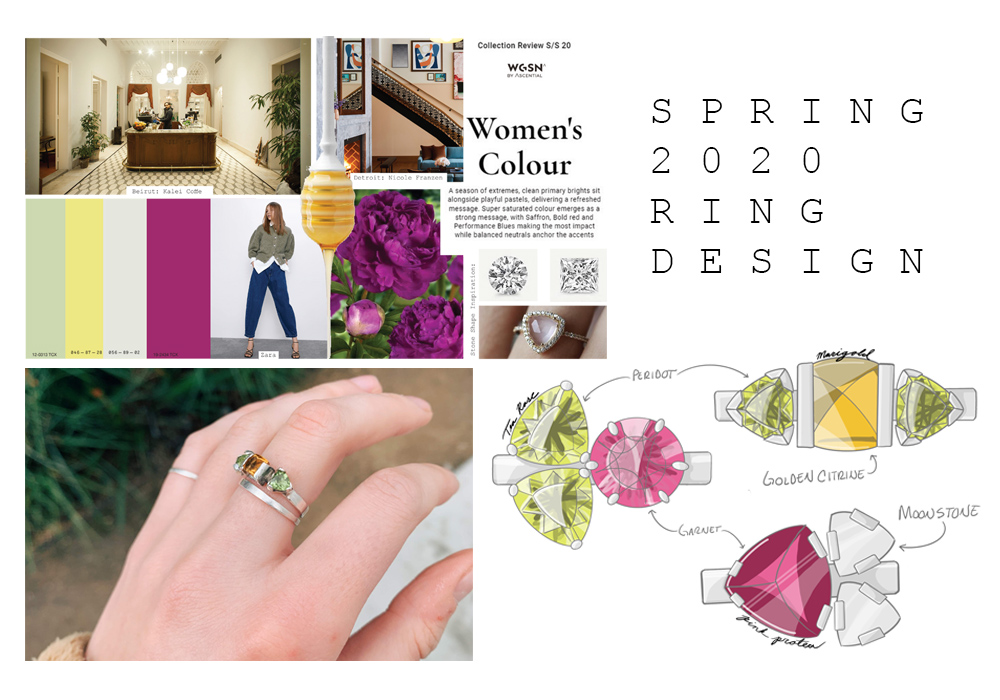 An engagement-style ring made out of silver with a square-shaped yellow sun stone in the center and two green triangle shaped peridot stones on either side. The page also shows some samples of sketches and a mood board displaying the inspiration for the project.