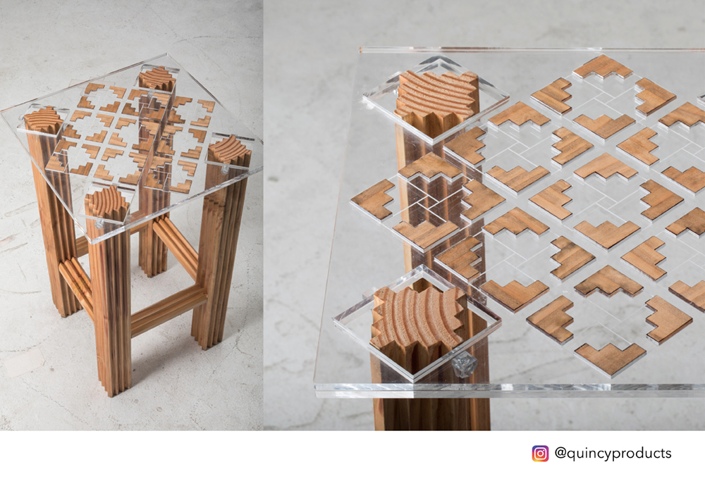 Puzzle table inspired by 'The Great Wall' of China.