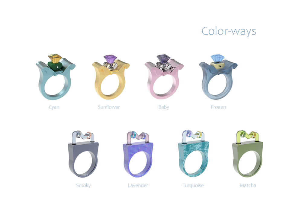 ClinG; anxiety-reducing rings. – color-ways.