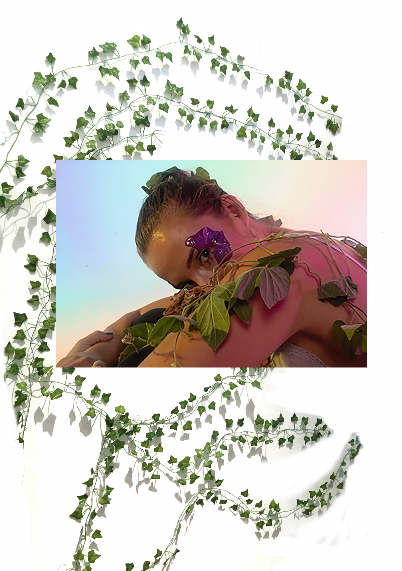 Digital composite image of a young woman with ivy on her body and ivy vines in background.