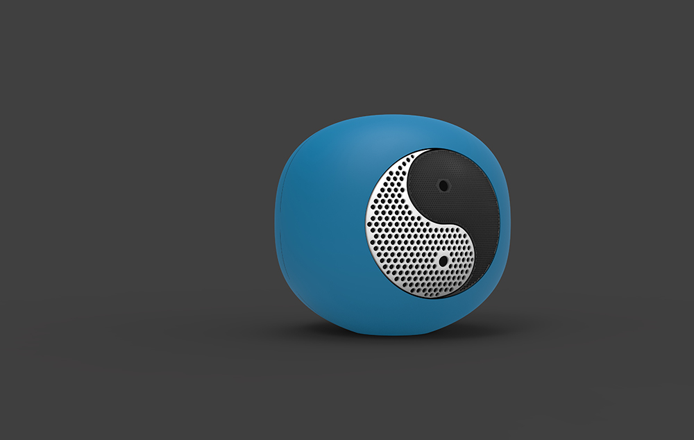 Waterproof speaker with yin and yang design.