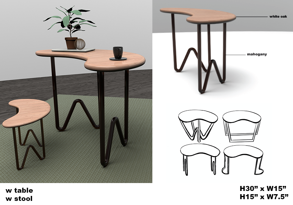 modern take on a desk and chair design.
