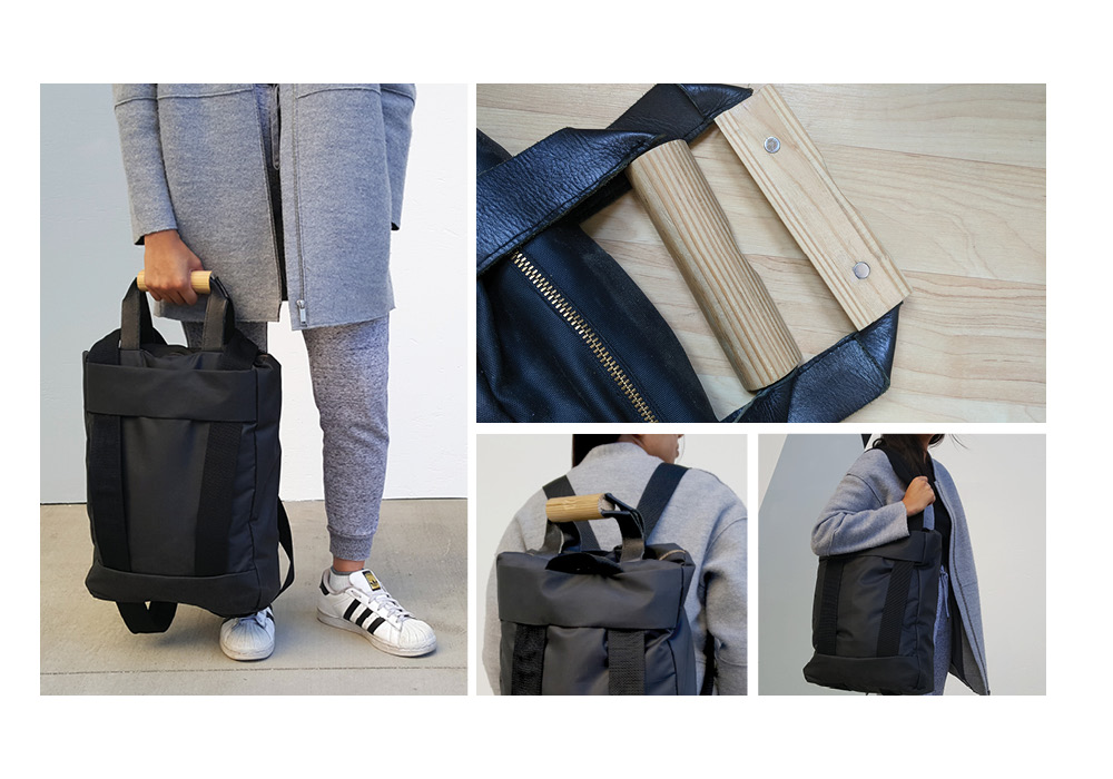 Bag that changes from a totebag to backpack with adjustment of the straps.