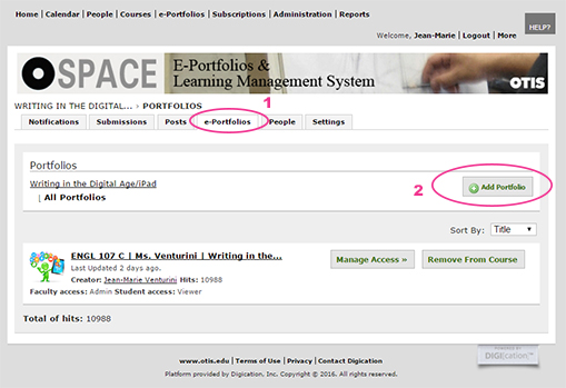 Add ePortfolio To O-Space Course