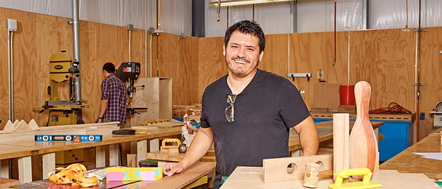 Andrew Armstrong in the Wood and Metal Shop at Otis College