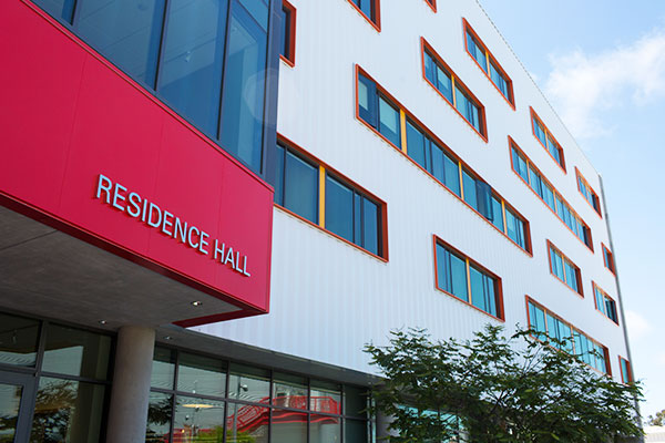 Residence Life at Otis College: Residence Hall entrance