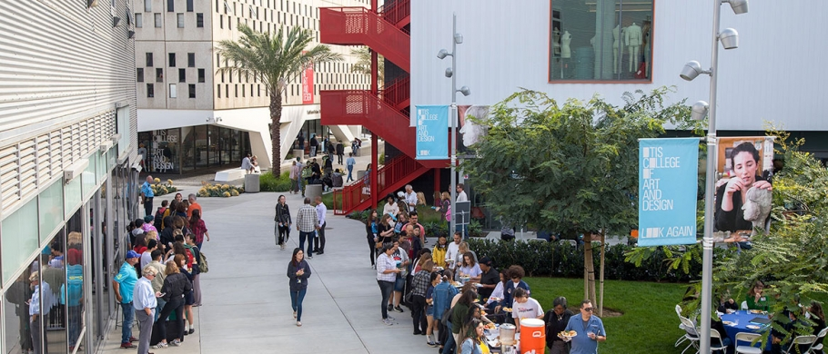Visitors explore the Commons at Otis College of Art and Design