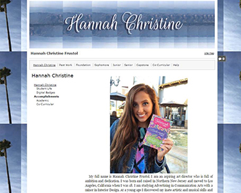 Hannah welcome page