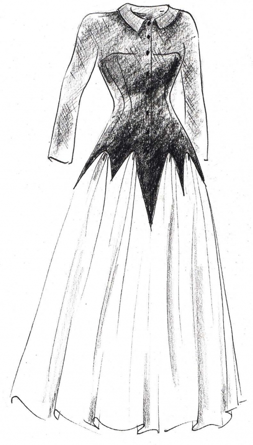 Kiisel: Sketch of Balenciaga Dress