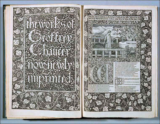 Kelmscott Chaucer - Title page and prologue