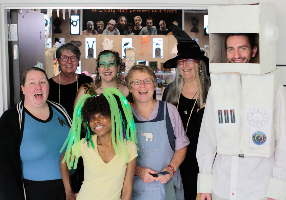 Library Staff on Halloween