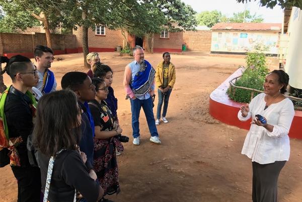 The Otis group meets with Jacaranda School Founder Marie Da Silva.