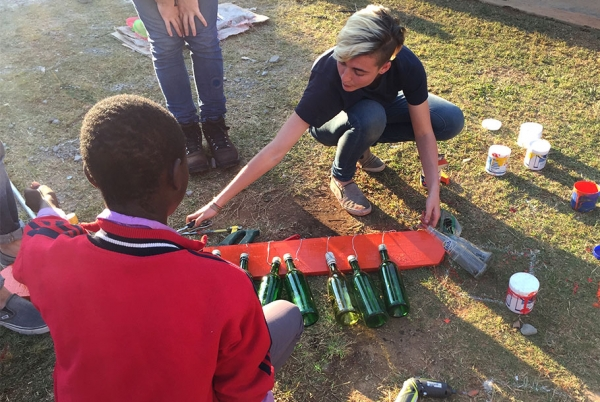 Students create a musical installation out of recyclables