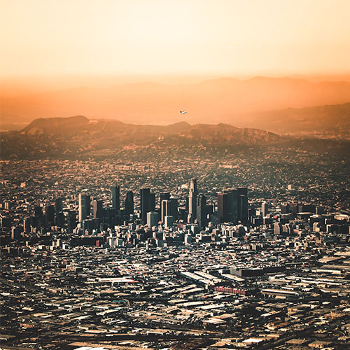 Neighborhoods of Los Angeles, photo of Downtown Los Angeles at dusk