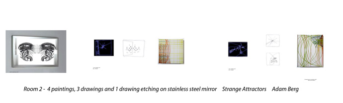 Room 2 - 4 paintings, 3 drawings and 1 drawing etching on stainless steel mirror, Strange Attractors
