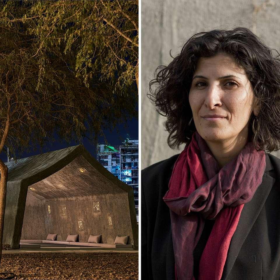 images of the Concrete Tent and portrait of Sandi Halal