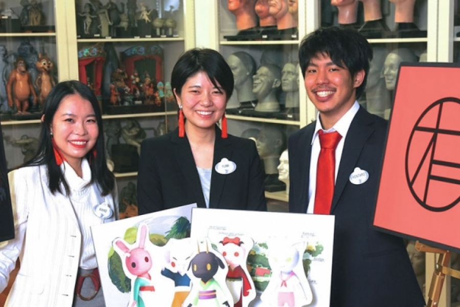 Kaho Horiuchi, Kentaro Yajima, and Yumi Yamazaki from Otis College of Art and Design placed third forOniba.