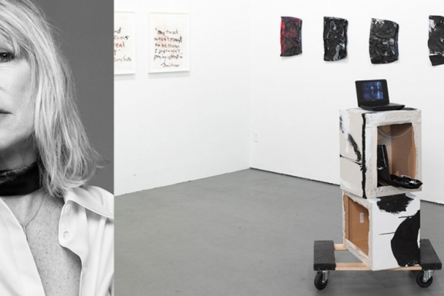 Portrait of Kim Gordon with an installation view of her work.