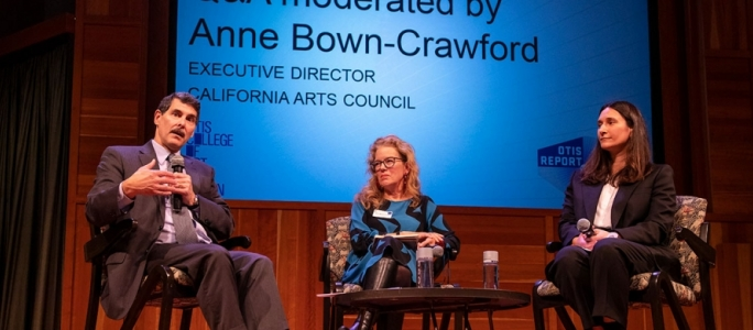 Beacon's Executive Director of Research Robert Kleinhenz, Ph.D., California Arts Council Director Anne Bown-Crawford, and Bettina Korek, executive director of Frieze Los Angeles 2019 at the launch event for the 2019 Otis Report on the Creative Economy.