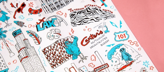 Los Angeles illustrations by Aaron Gonzalez
