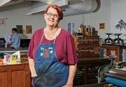 Portrait of Rebecca Chamlee in Otis College's letterpress studio