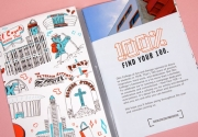 detail from the 2018 Otis College of Art and Design viewbook featuring illustrations of Los Angeles