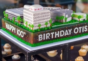 Birthday cake in the shape of the Otis College campus