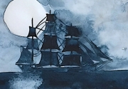 watercolor painting of a ship silhouette by the moon