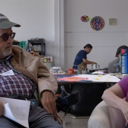 Video still of Creativity Limited - Chris Brown and Marilyn Schmidt talking at ECF Westside Art Center.