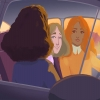 A red Headed woman and Blonde male looking lovingly at the passenger. The sun is setting.
