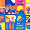 This is a viewbook cover illustration for Otis College of Art and Design. The viewbook cover folds out to a colorful poster depicting scenes of Los Angeles and art school life.