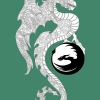 "Printmaking. Adobe Illustrator. Celtic knotwork dragon clan banner, designed as the main accompanying art piece for my senior project documentary on ""Larping And Mental Health."" ; Jessica Perkins, Jasper Perkins, Immerzart, Illustration, dragon, poster, Celtic knotwork, larp, fantasy, Contera"