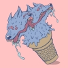 A ferocious ice cream beast that licks back. Don't worry, despite their appearance they don't bite. Wolf, Dog, Yum, Dessert, Funky, Surreal, Fun, Psychedelic.