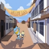 A cat and Shark stand in a western town as they welcome the viewer.