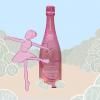 A Pink Ballerina dances around champagne.