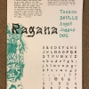 """The name translating to """"Witch"""" (from Lithuanian), Ragana, is a custom display font inspired by bad tattoos and metal album lettering. Pictured is a Riso print type specimen."""