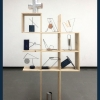 Mixed media sculpture resembling shelving unit and various objects displayed atop.