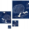 Runaway Brain, by Cactus Springman. A photo montage of four cyanotype prints, each depicting a human brain with legs. The brain is running away from a person in the background, who is holding, then throwing, a large pill. When the pill hits the brain, it falls down and lays motionless, finally calm. The prints are of various sizes, all navy blue and white.