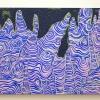 "Stalagmites 40"" x 52"" Acrylic paint, flashe paint, stretched linen canvas, glitter"